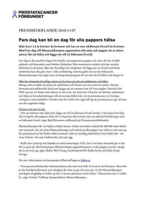 Pressmeddelande - Fars dag