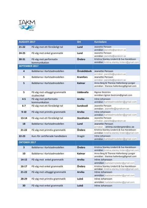 Kurs kalender för IAKM