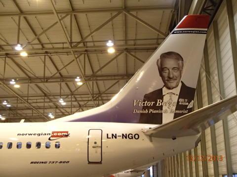 Victor Borge hyldes på Norwegian-fly