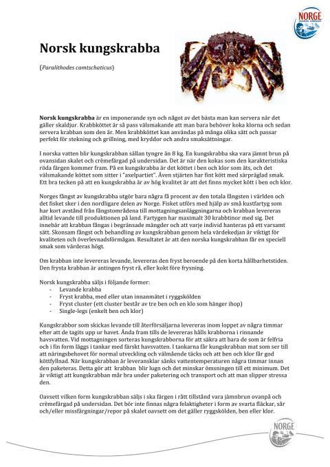 Norsk kungskrabba - faktablad