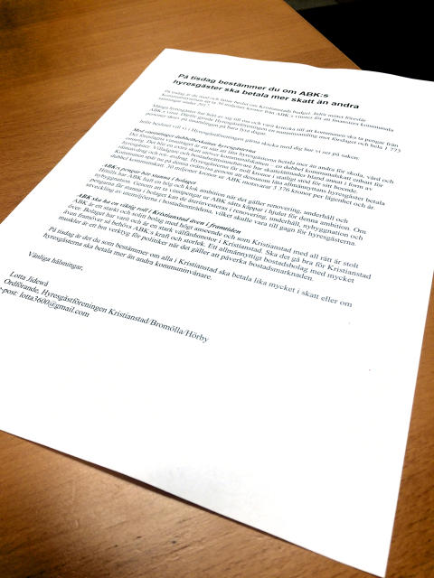 Öppet brev till kommunfullmäktige: Låt pengarna stanna i ABK