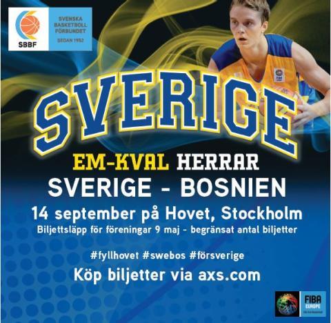 BASKET: Sverige - Bosnien EM-KVAL 14 september