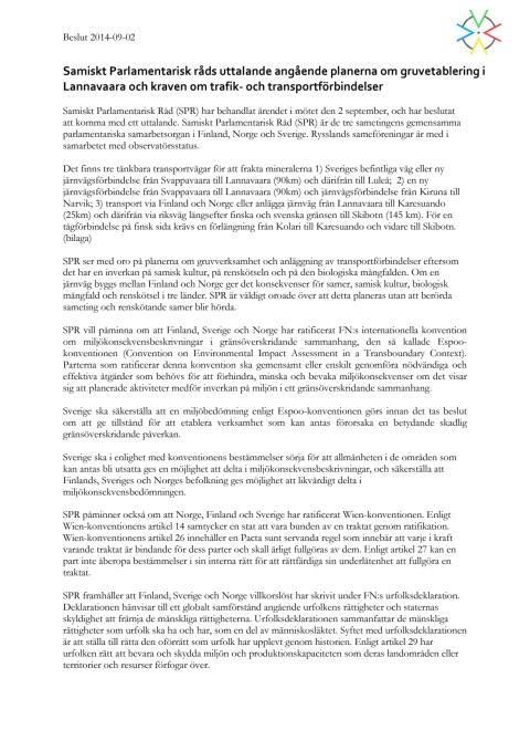 SPR:s uttalande om gruvverksamhet i Lannavaara och planerna på nya järnvägar