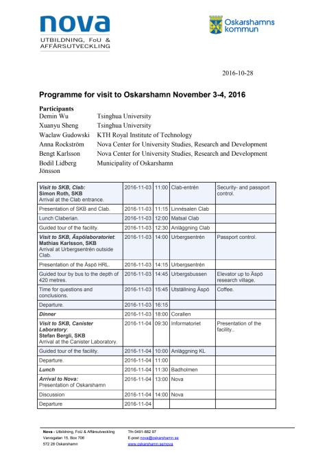 Program 3-4 november i Oskarshamn