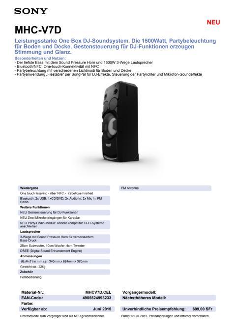 Datenblatt MHC-V7D von Sony