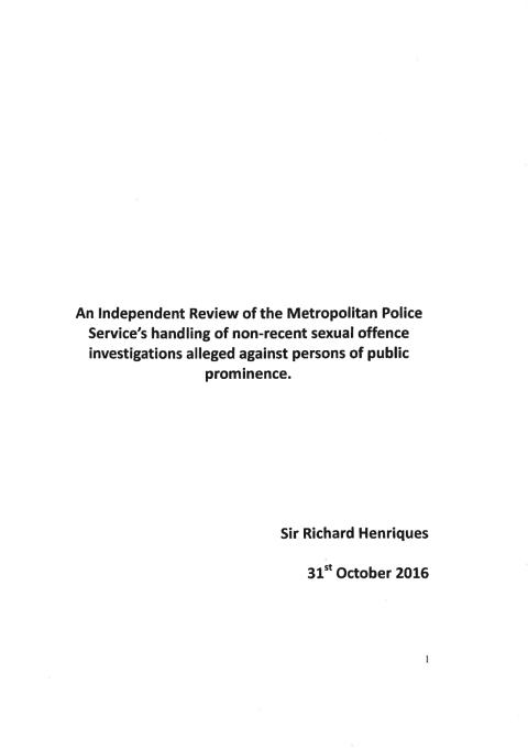 Report - Independent Review of Metropolitan Police Service's handling of non-recent sexual offence investigations