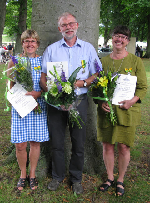 2013 års trädgårdsmedaljörer Elisabet Nilsson, Björn Aldén och Lena Nygårds.