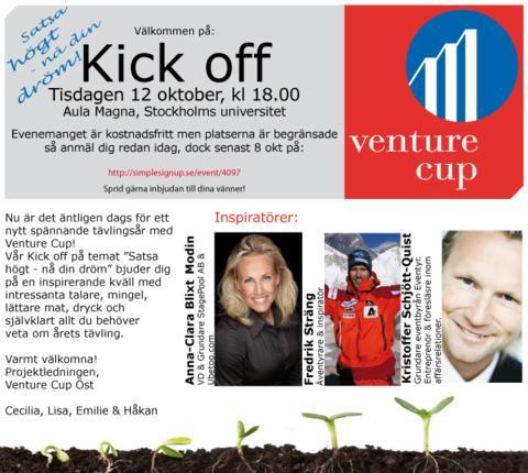 Venture Cup bjuder in till årets kick off 12 oktober!
