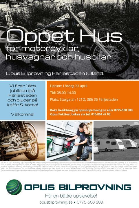 Öppet hus för motorcyklar, husvagnar och husbilar i Färjestaden!
