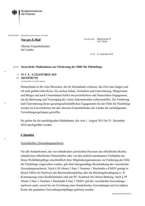 BMF-Schreiben zur steuerlichen Maßnahmen anlässlich der Flüchtlingswelle