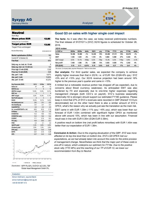 equinet Bank Investment Research Q3