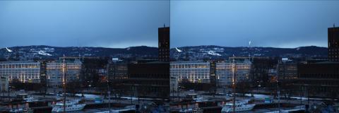 Utsikt til Tryvannstårnet før og etter