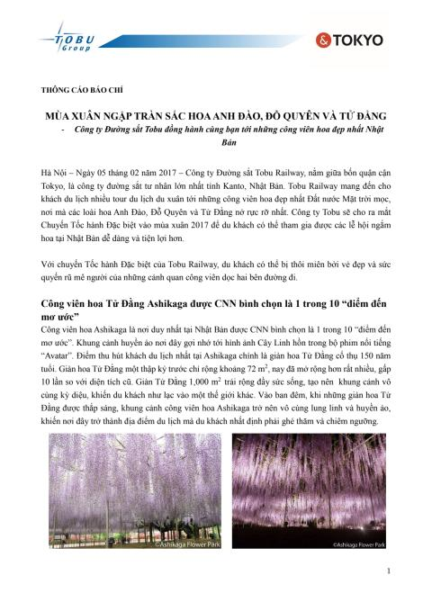 [VIETNAMESE] Cherry Blossoms, Wisteria, and Other Springtime Flower-Viewing Information