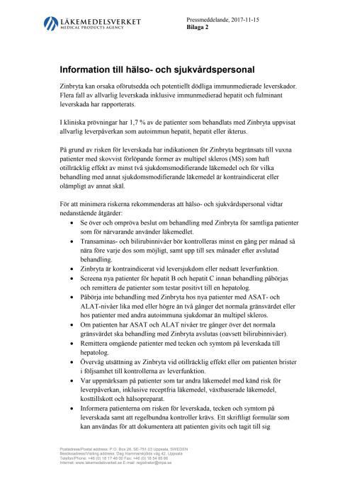 Bilaga 2 Information till hälso- och sjukvårdspersonal