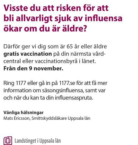 Vykort från Landstinget i Uppsala län om vaccination mot säsongsinfluensa - baksida