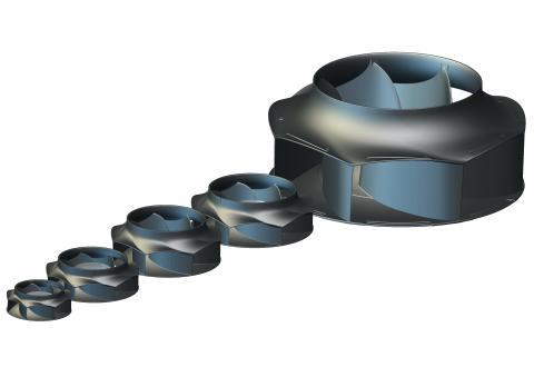ebm-papst fläkthjul finns i diameter från 133 till 630 mm