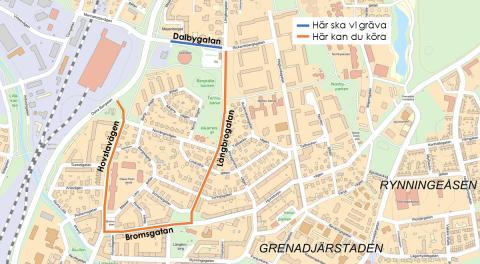 Ny översiktsbild över arbets gång vid Dalbygatan.