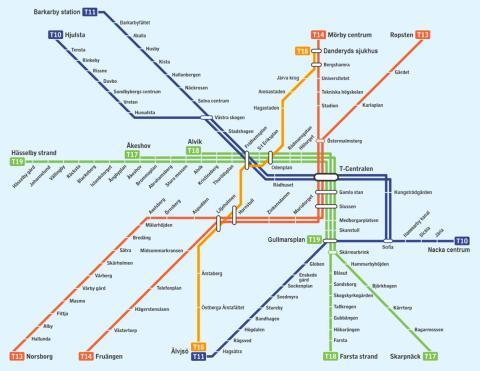 Så här skulle Stockholms tunnelbana kunna se ut med en ny tunnelbanesträckning: den gula linjen.