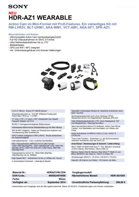 Datenblatt HDR-AZ1VW von Sony