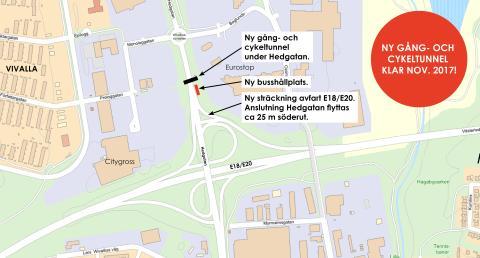 Ny gång- och cykeltunnel byggs under Hedgatan