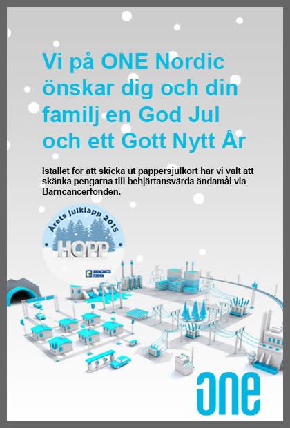 ONE Nordic önskar God jul och Gott nytt år med en gåva till Barncancerfonden