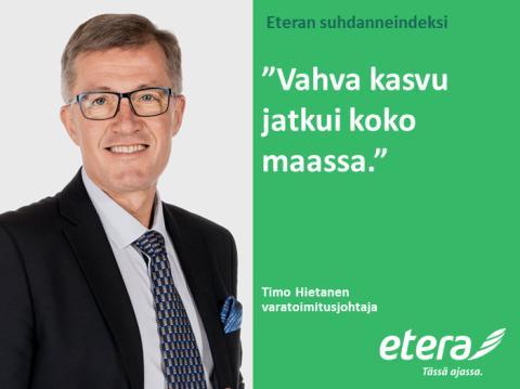 Eteran suhdanneindeksi: Kasvua läpi Suomen