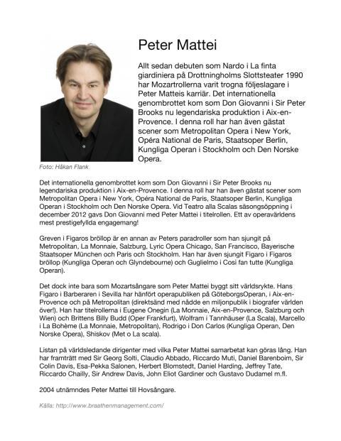 Sångarbiografi Peter Mattei, baryton (på svenska)