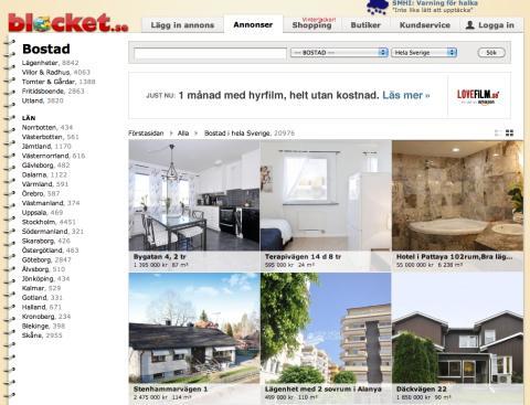 Blocket satsar på bostadsmarknaden  – allt fler mäklarkedjor lägger ut sina objekt på sajten