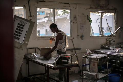 Förstörelse på sjukhuset i Hajja, Jemen, efter flygattacker i augusti 2016. I attacken dödades 19 personer.