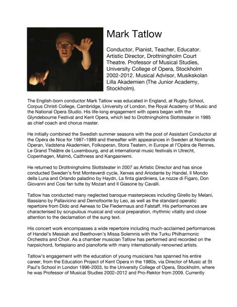 Bio of Mark Tatlow, Artistic Director at Drottningholm Court Theatre