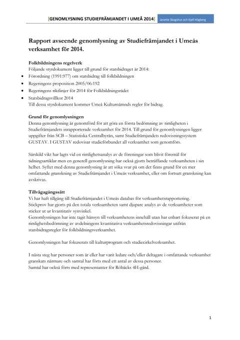 Genomlysning Studiefrämjandet i Umeå 2014