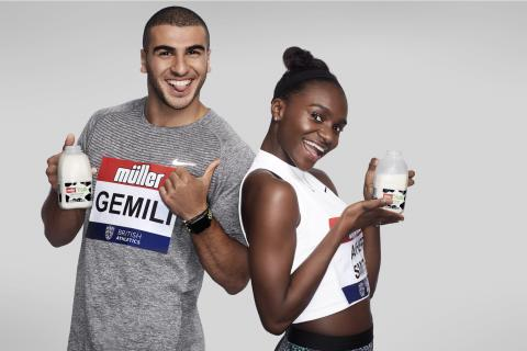 Müller brand ambassadors Adam Gemili and Dina Asher-Smith