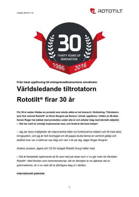 Rototilt® firar 30 år - från lokal uppfinning till entreprenadbranschens omvälvare