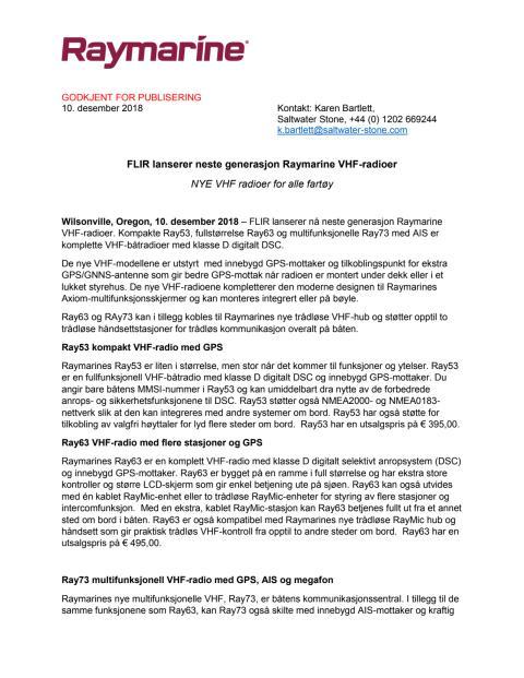 FLIR lanserer neste generasjon Raymarine VHF-radioer