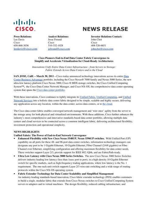 20110330 Cisco Pressrelease