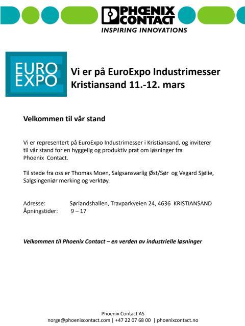 Vi er på EuroExpo Industrimesser Kristiansand 11.-12. mars