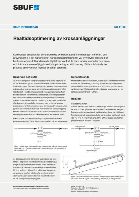 SBUF Informerar, nr. 11-12 Realtidsoptimering av krossanläggningar