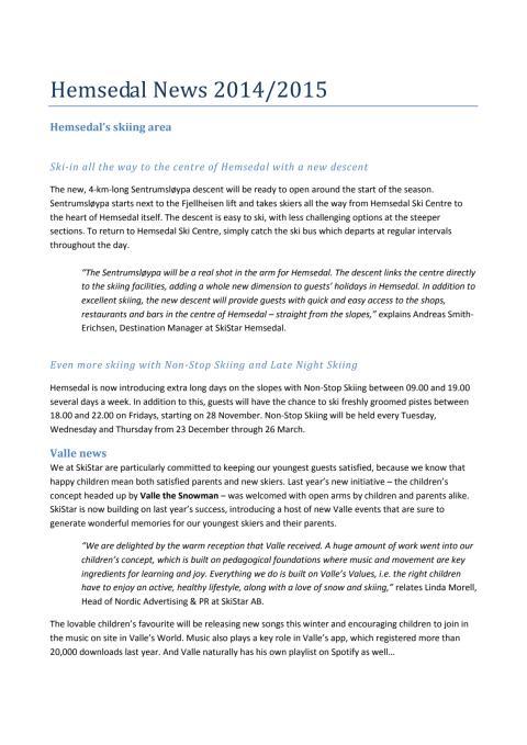 Hemsedal News 2014/2015
