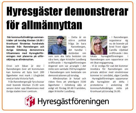 Pressinbjudan - manifestation mot utförsäljningen av allmännyttan i Rannebergen