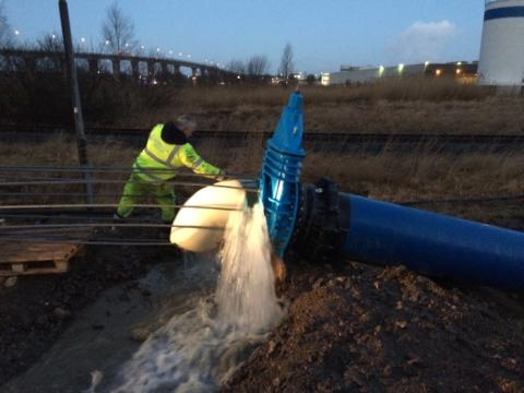 Nya huvudvattenledningen har tagits i drift