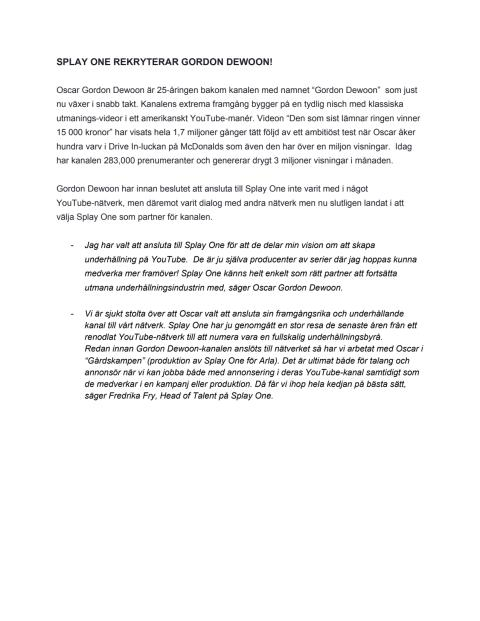 Swedish Press Release Splay One wins Gordon Dewoon