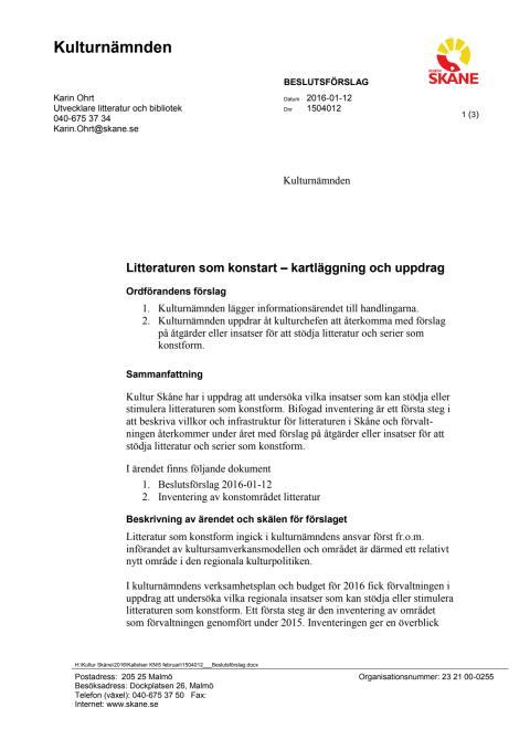 Beslutsförslag: Litteraturen som konstart – kartläggning och uppdrag