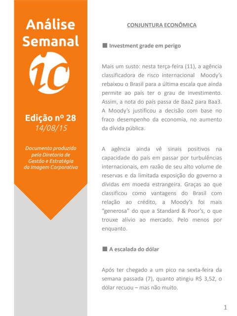 Análise Semanal IC - 14.08.2015