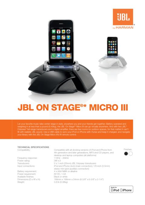 Specification sheet - JBL On Stage Micro III (English)
