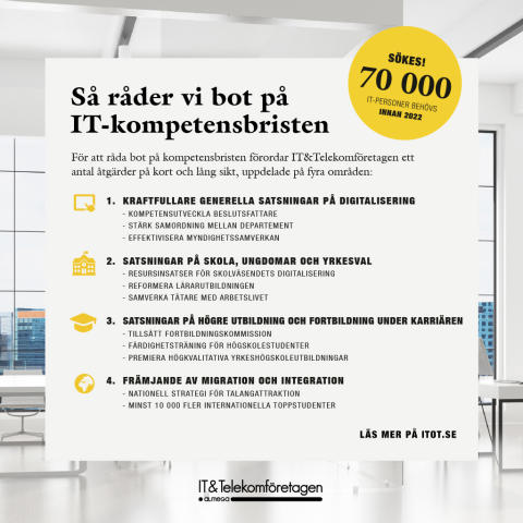 Underskott på 70 000 personer med IT-kompetens hotar svensk tillväxt