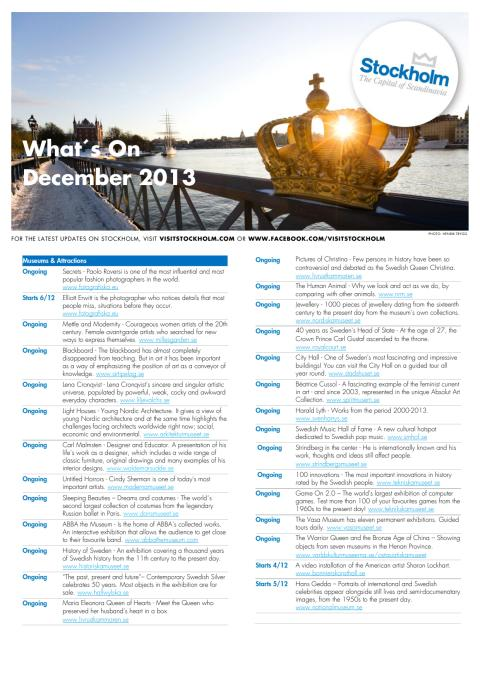 Events: What's On December 2013