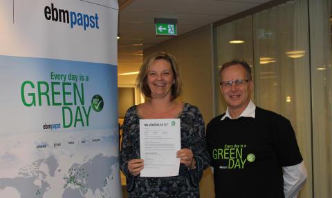 Miljötemaveckan Every Day is a Green Day hos ebm-papst i Sverige där alla medarbetare också ska ta Miljökörkortet