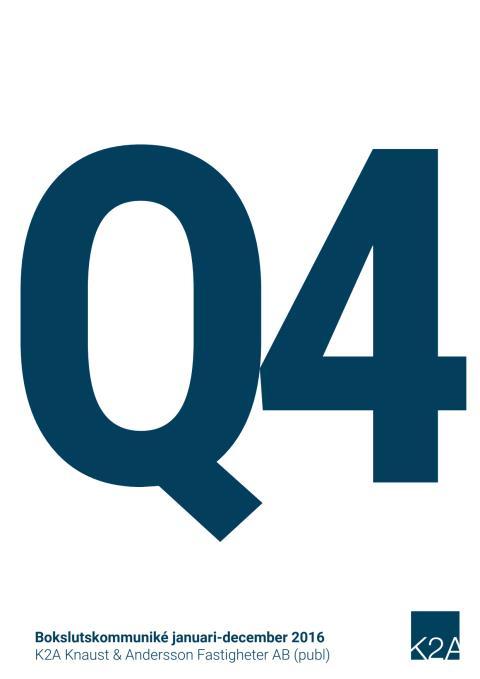 K2A Delårsrapport Q4 2016