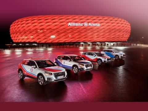 Fire Audi Q2 biler lakeret i de fire klubfarver gør reklame for Audi Cup 2017