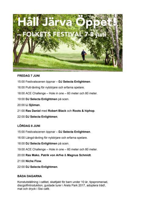 Festivalprogram Håll Järva Öppet 7-8 juni